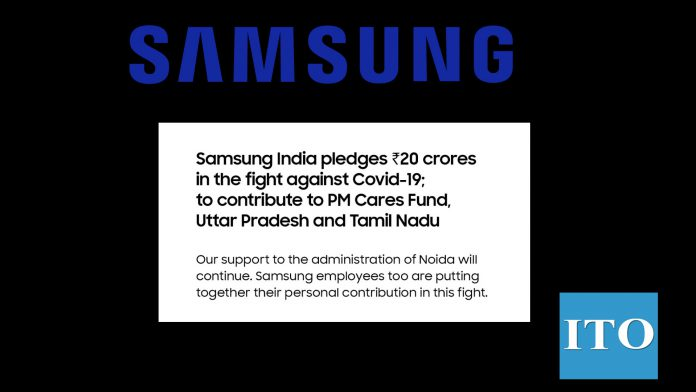 Samsung India Pledges 20 crores contribution to PM Cares Fund, UP and Tamil Nadu to fight against CoVID-19