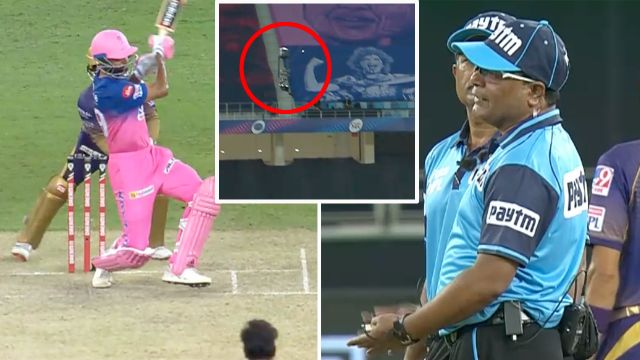 Jaidev Unadkat given out after ball hit the spider cam cable
