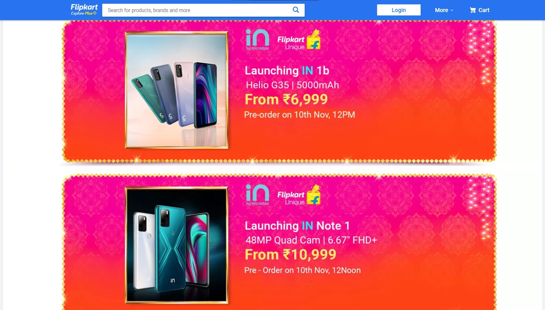 Micromax IN 1b and Micromax IN Note 1 Pre-Order Date
