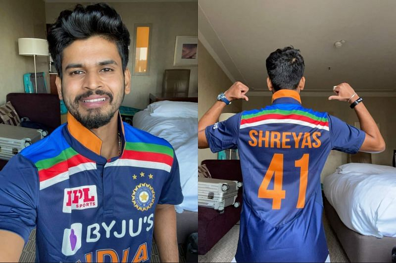 shreyas iyer in new retro india jersey