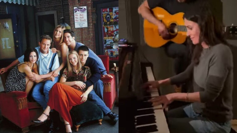 """Watch Courteney Cox play Friends theme song """"I'll Be There For You"""" on Piano"""